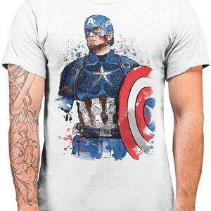 Camiseta Capitán América Captain Watercolor (La Colmena)