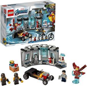 Lego Armería de Ironman. Con Tony Stark y dos trajes de Ironman