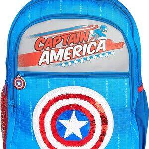 Mochila Escolar con Logo del Capitán América en lentejuelas