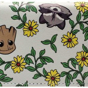 Cartera Monedero Groot y Rocket Flowers