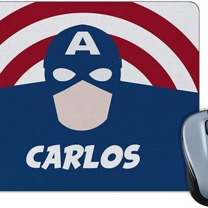 Alfombrilla para Ratón personalizable. Elige Heroe y tu nombre Capitan America