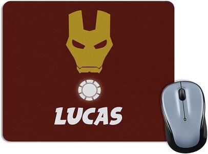 Alfombrilla para Ratón personalizable. Elige Heroe y tu nombre Ironman
