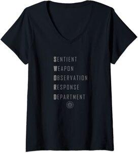 Camiseta Cuello V Marvel Wandavision TV Acronimo de SWORD colores oscuros