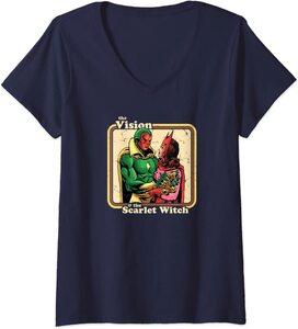 Camiseta Cuello V Marvel Wandavision TV Bruja Escarlata Y Vision Comic Retro