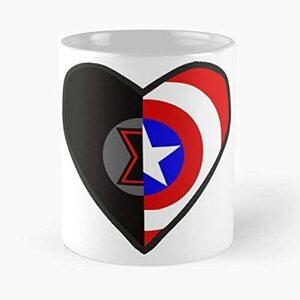 S6 Taza Corazon Capitan America y Viuda Negra
