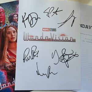 Wandavision - Poster y autógrafos firmados con guion de la serie de Marvel Wandavision