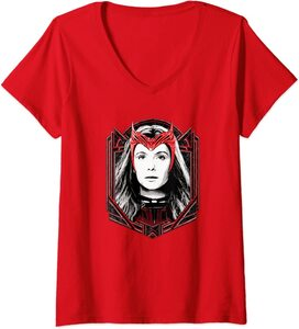 Camiseta Cuello V Marvel Wandavision TV Scarlet Witch Bruja Escarlata Wanda Maximoff