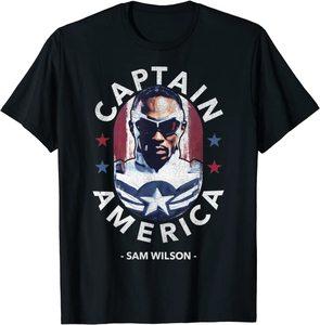 xCamiseta Manga Corta Falcon y el Soldado de Invierno Sam Wilson Capitan America Estrellas