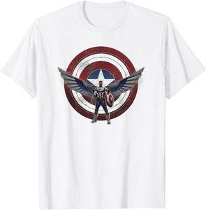xCamiseta Manga Corta Falcon y el Soldado de Invierno Sam Wilson Nuevo Capitan America con escudo