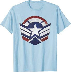 xCamiseta Manga Corta Falcon y el Soldado de Invierno el Nuevo Logo del Capitan América Escudo
