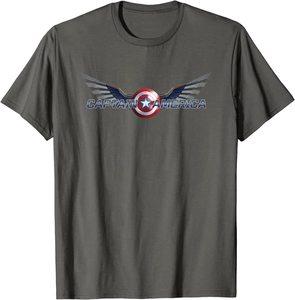 xCamiseta Manga Corta Falcon y el Soldado de Invierno el Nuevo Logo del Capitan América con alas