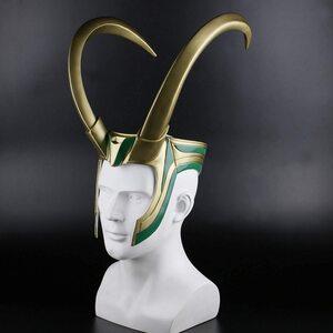 Adulto Disfraz de Loki, casco mascara con cuernos de Loki Largos
