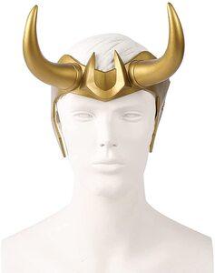 Adulto Disfraz de Loki, casco mascara con cuernos de Loki Cortos