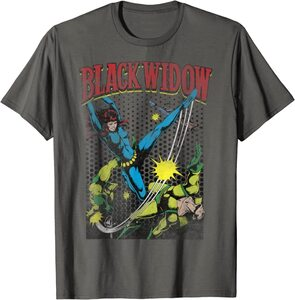 Camiseta Black Widow Comic Retro Patea Enemigos