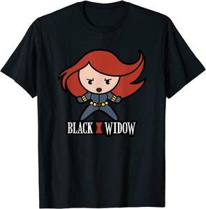 Camiseta Black Widow Pose de Acción de Dibujos Animados Viuda Negra