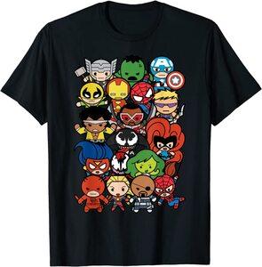 Camiseta Heroes y Villanos de Marvel estilo Kawaii