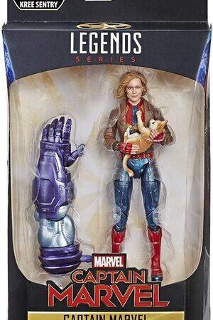 Figura Marvel Legends Capitana Marvel Carol Danvers con Gato