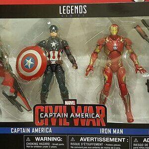 Figura Marvel Legends Civil War Ironman, Capitan America Falcon y War Machine