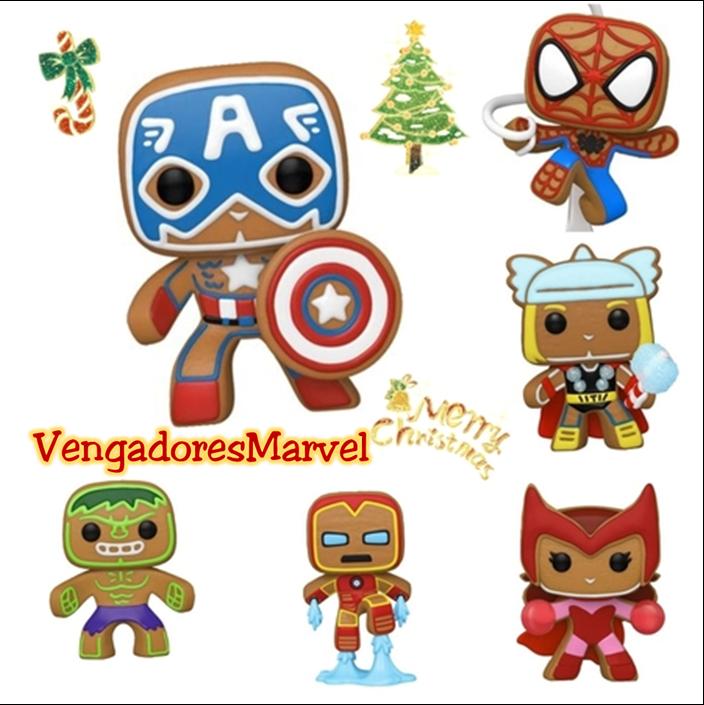 Funko Pop Edicion Especial Navidad Galleta de Jengibre Collage de Vengadores Marvel